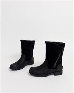 Черные кожаные водонепроницаемые сапоги с отворотами Emilie Sorel