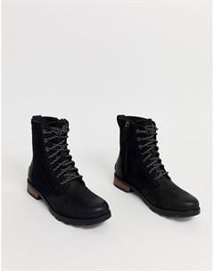 Черные водонепроницаемые кожаные ботинки на шнуровке Emelie Sorel