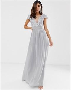Плиссированное платье макси с кружевом и сеткой City goddess