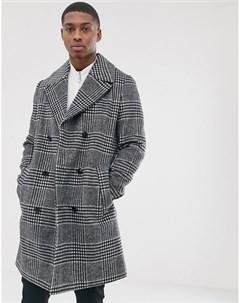 Двубортный пиджак в клетку с добавлением хлопка Серый Asos design