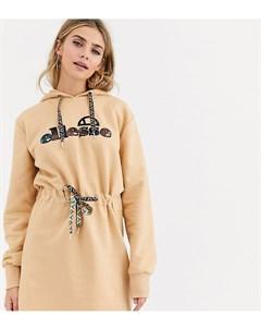 Платье с капюшоном и затягивающимся шнурком на талии Ellesse Светло коричневый