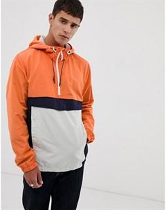 Оранжевый анорак колор блок на молнии Tom tailor