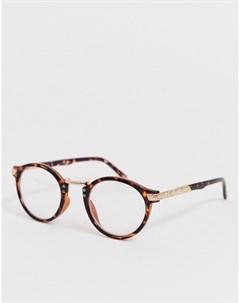 Круглые очки с прозрачными стеклами в черепаховой оправе Asos design