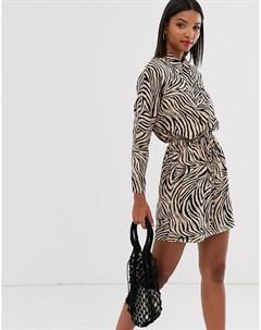 Платье рубашка с завязкой на талии Ax paris