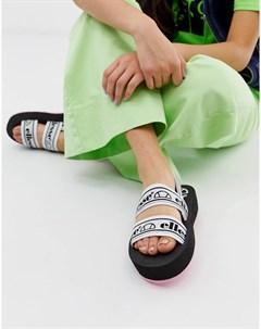 Черные сандалии на плоской платформе с ремешками и логотипом Ellesse Giglio Мульти