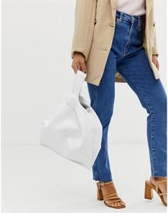 Белая кожаная сумка шоппер Hill and Friends Happy Hill & friends