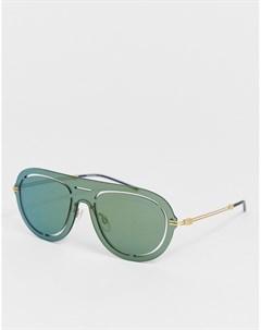 Солнцезащитные очки авиаторы с зелеными стеклами Мульти Emporio armani