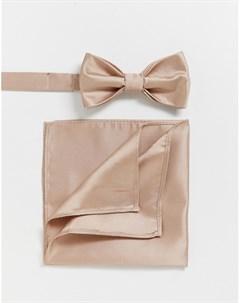 Однотонные галстук бабочка и платок для нагрудного кармана Wedding Розовый Devils advocate