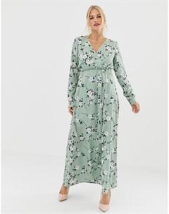 Платье макси с рукавами 3 4 и цветочным принтом Uttam boutique