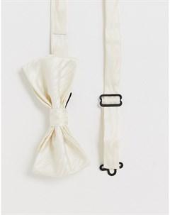 Атласный галстук бабочка кремового цвета с рисунком зебра Кремовый Devils advocate