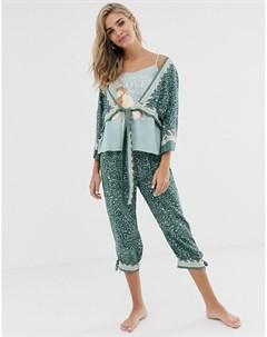 Пижамный комплект с брюками капри и халатом Womensecret Зеленый Women'secret