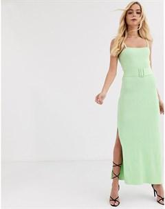 Трикотажное платье лаймового цвета в рубчик с поясом Finders keepers