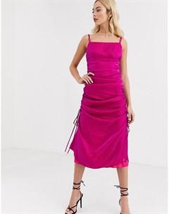 Атласное присборенное платье цвета фуксии на бретелях Finders keepers