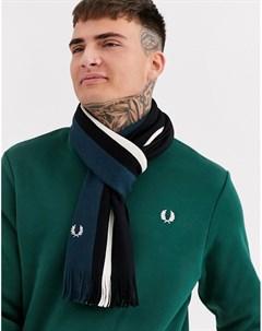 Черный зеленый шарф с полосками Fred perry