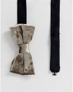 Фактурный бархатный галстук бабочка кремового цвета Кремовый Twisted tailor