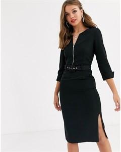 Черное платье миди с отворотами на рукавах поясом и двумя разрезами Paper dolls