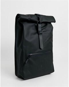 Черный непромокаемый рюкзак с подворачивающимся верхом 1316 Rains
