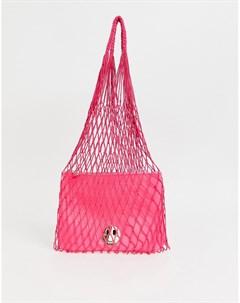 Розовая сетчатая сумка с кожаным клатчем Hill and Friends Happy Hill & friends