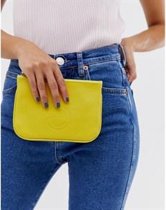 Миниатюрный кожаный клатч желтого цвета Hill and Friends Happy Hill & friends