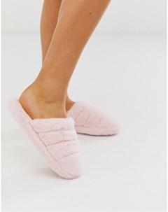 Светло розовые стеганые слиперы Zoe Розовый Asos design