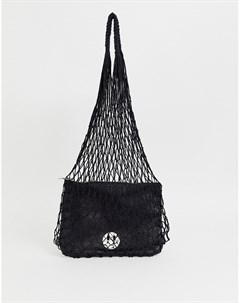 Черная сетчатая сумка с кожаным клатчем Hill and Friends Happy Hill & friends