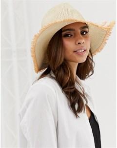 Соломенная шляпа панама Коричневый French connection