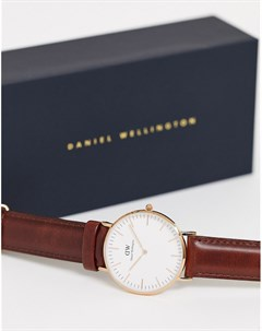 Часы с коричневым ремешком и отделкой цвета розового золота 36 мм Daniel wellington
