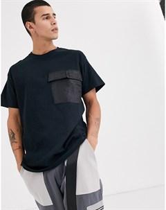 Черная рубашка с карманом в стиле милитари Черный The ragged priest