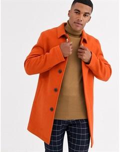 Оранжевый тренч с добавлением шерсти Asos design