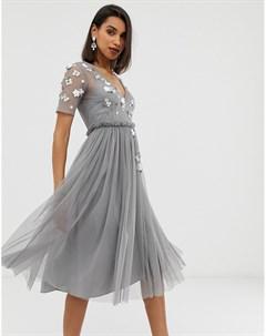 Платье футболка миди с 3D отделкой и сетчатой юбкой Asos design