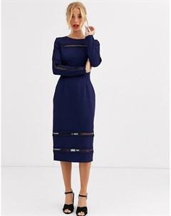 Темно синее платье миди с длинными рукавами Paper dolls