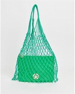 Зеленая сетчатая сумка с кожаным клатчем Hill and Friends Happy Hill & friends