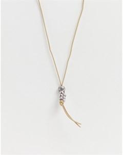 Кожаное ожерелье с подвеской черепом Бежевый Icon brand