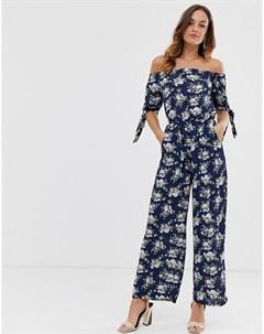 Комбинезон с цветочным принтом и завязкой на рукавах Uttam boutique