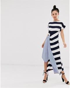 Платье в полоску с комбинированным принтом Sass and bide
