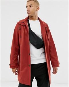 Тренч рыжего цвета с отстегиваемым капюшоном Оранжевый Asos design