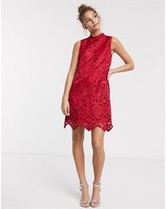 Красное свободное платье мини с высоким воротом Chi chi london