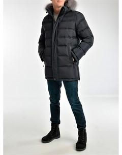 Пуховик мужской из текстиля с капюшоном отделка чернобурка Мосмеха