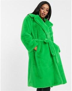 Зеленая шуба из искусственного меха Зеленый Jayley