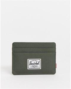 Визитница цвета хаки с защитой от RFID устройств Зеленый Herschel supply co
