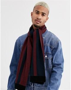 Бордовый темно синий шарф в полоску Topman