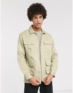Рубашка классического кроя с карманами Бежевый Asos white