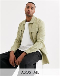 Рубашка классического кроя с карманами в стиле милитари Tall Бежевый Asos white