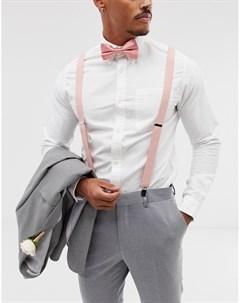 Подтяжки и галстук бабочка розового цвета Wedding Asos design