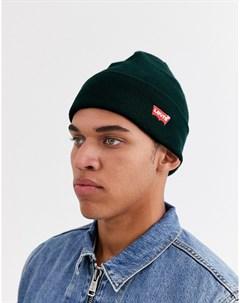Темно зеленая шапка бини с маленьким логотипом и отворотом Levi's®