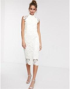 Белое кружевное платье миди с высоким воротником и короткими рукавами Paper dolls