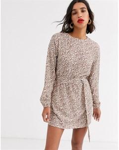 Платье с поясом и леопардовым принтом Ax paris