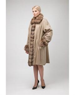 Длинное двустороннее пальто на меху ласки с отделкой из соболя Santini