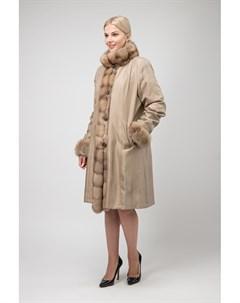 Длинное пальто на меху для зимы с отделкой из соболя Santini