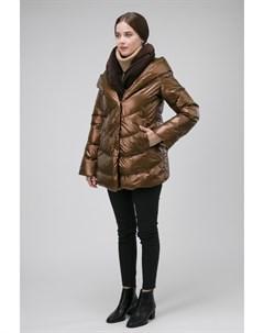 Короткая женская комбинированная куртка на пуху из Италии Visconf violanti